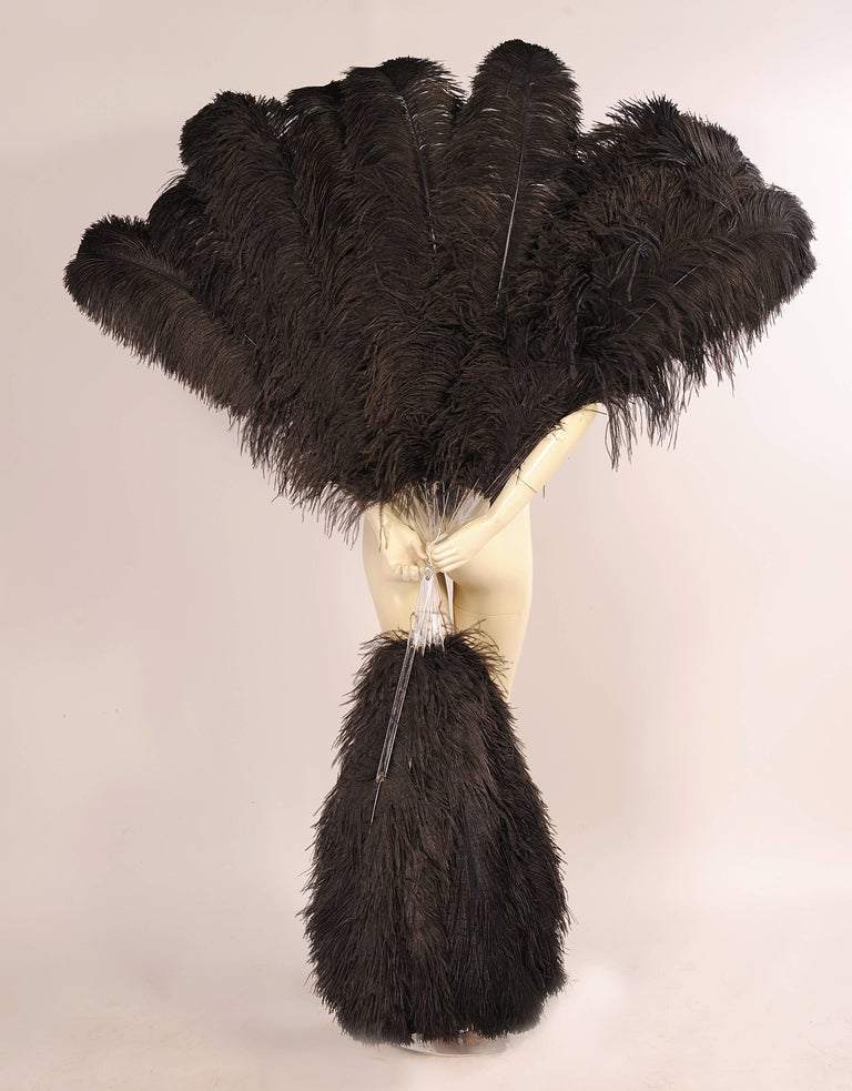Patrick Kelly Atelier Ovesized Lucite and Black Ostrich Feather Fans Runway 1989 For Sale 1