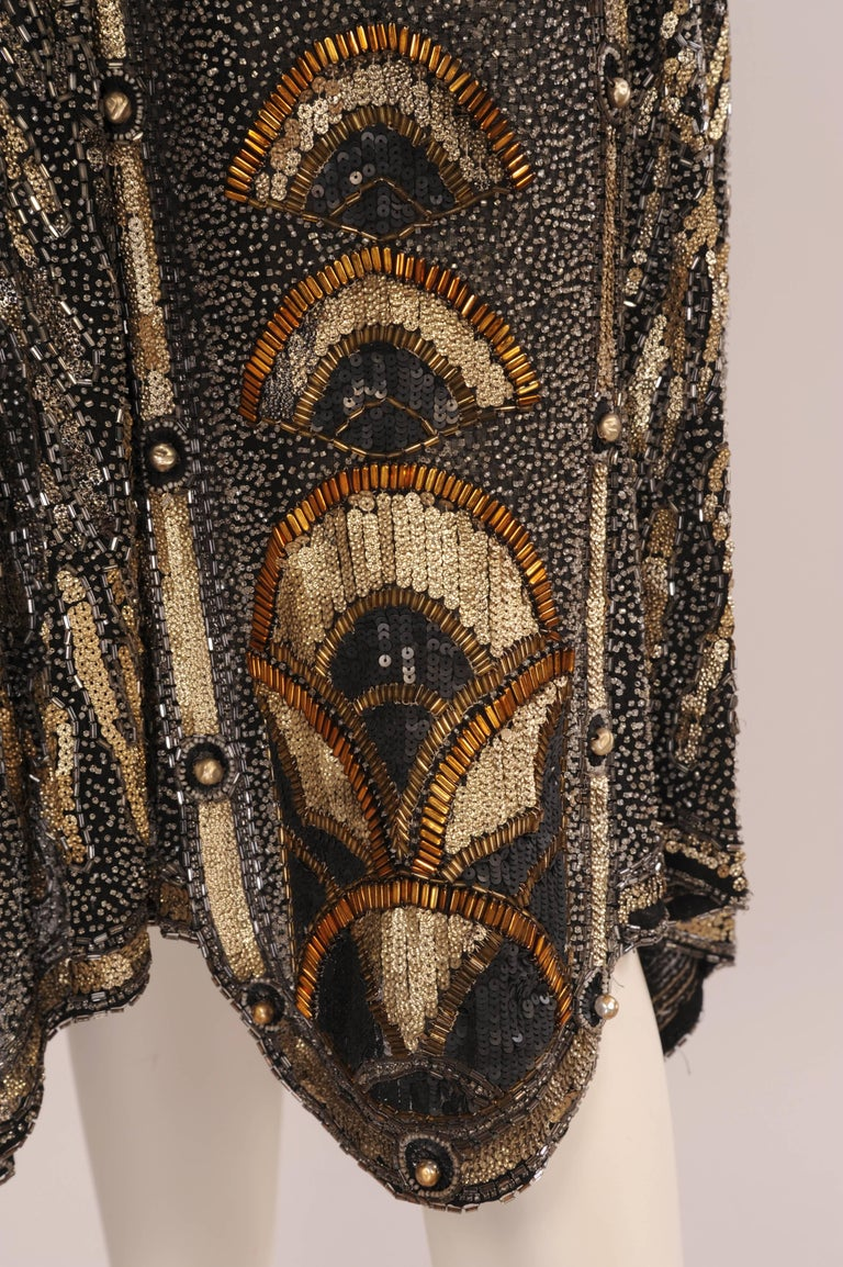 Art Deco 1920's Black and Gold Evening Dress, Hand Beaded, Larger Size For Sale 1