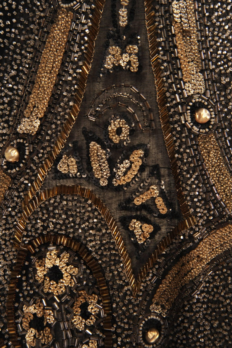 Art Deco 1920's Black and Gold Evening Dress, Hand Beaded, Larger Size For Sale 2