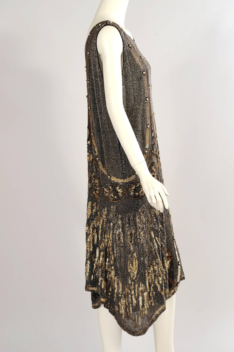 Art Deco 1920s Black And Gold Evening Dress Hand Beaded Larger