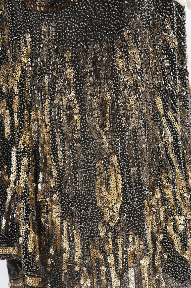 Art Deco 1920's Black and Gold Evening Dress, Hand Beaded, Larger Size For Sale 3