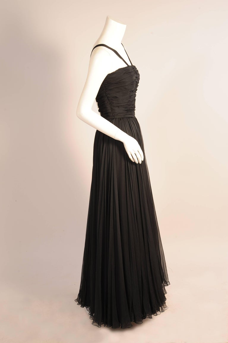 Ben Reig Black Silk Chiffon Evening Gown in the style of Desses ...