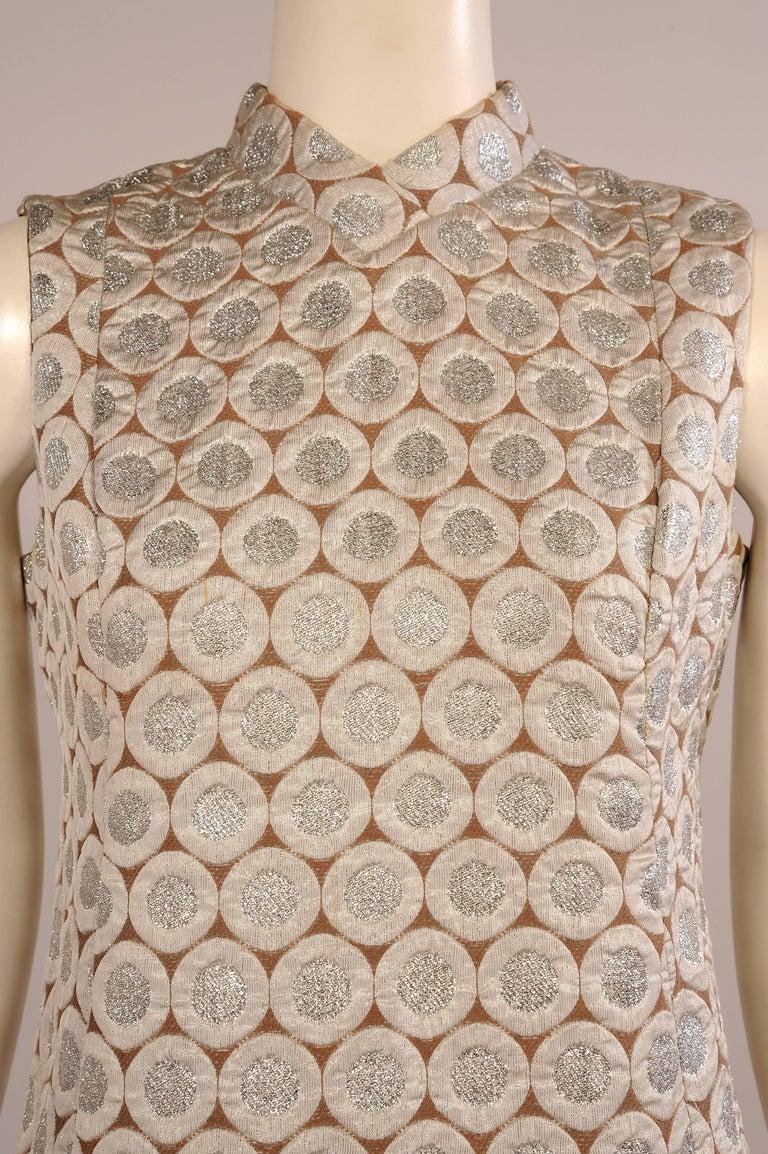 Beige 1960's Op Art Pattern Silver Lame Dress For Sale