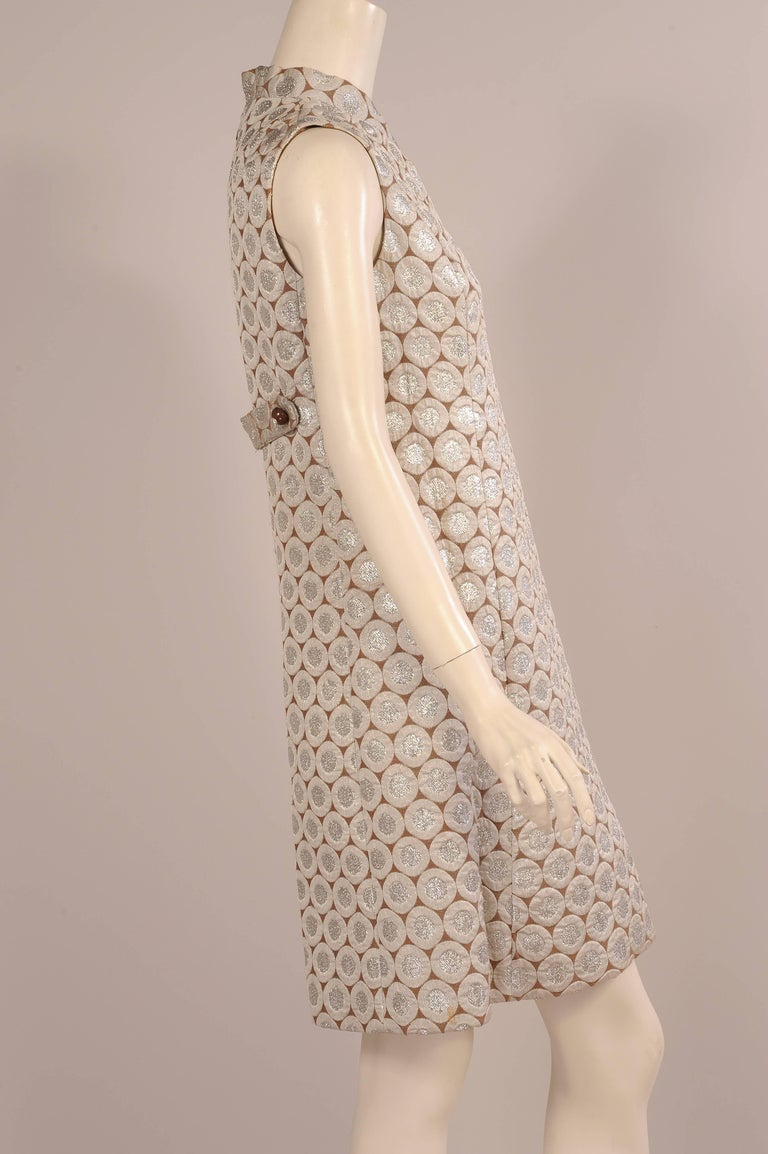 1960's Op Art Pattern Silver Lame Dress In Excellent Condition For Sale In New Hope, PA