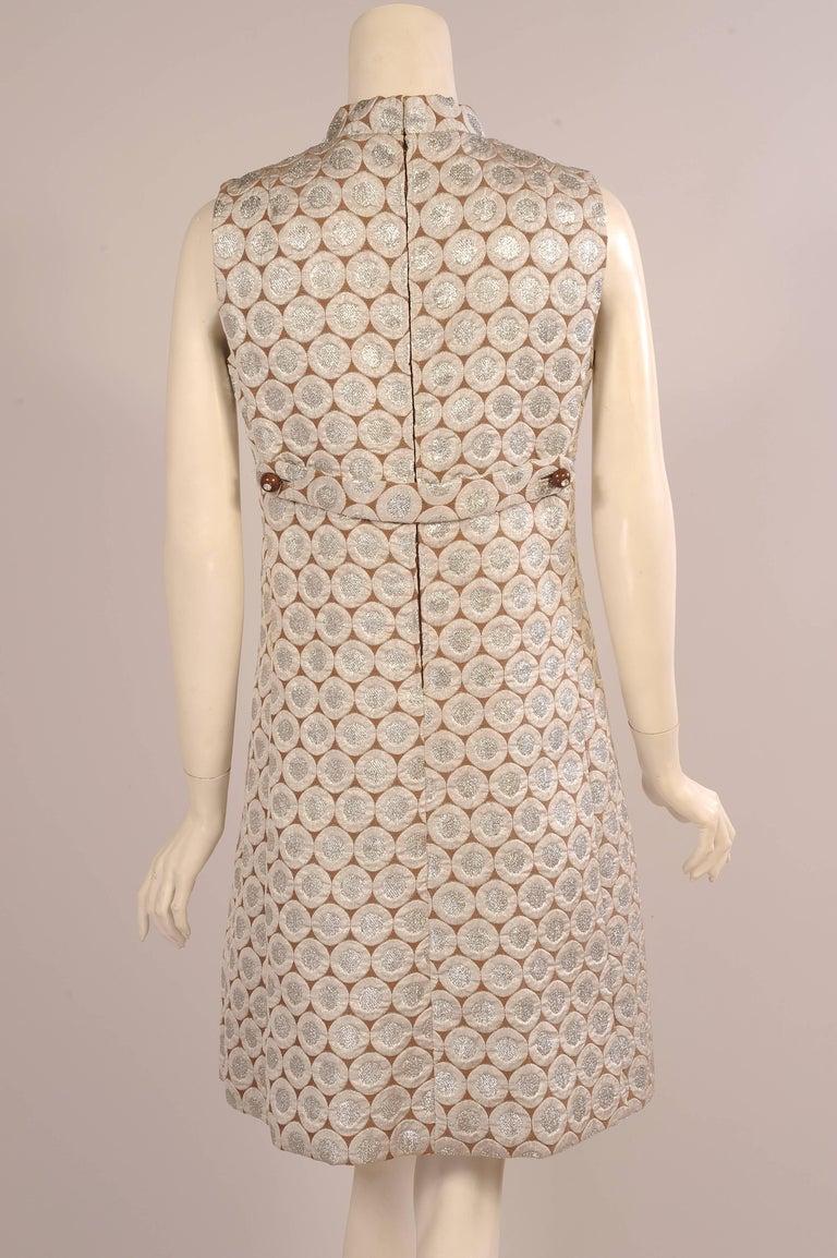 Women's 1960's Op Art Pattern Silver Lame Dress For Sale