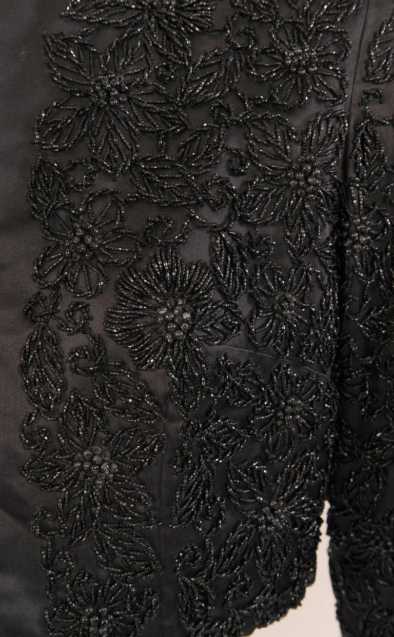 Black Silk Jacket with Lavish Black Floral Beadwork For Sale 1