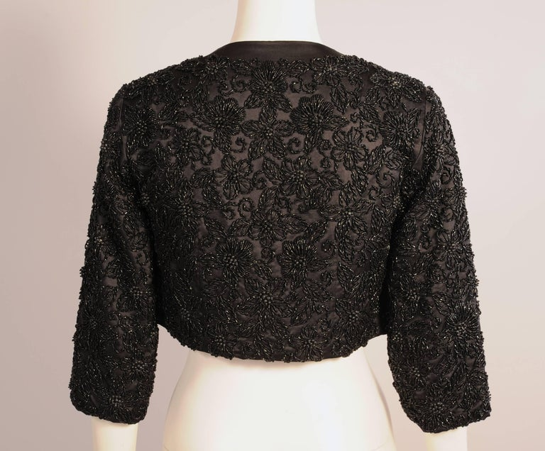 Black Silk Jacket with Lavish Black Floral Beadwork In Excellent Condition For Sale In New Hope, PA
