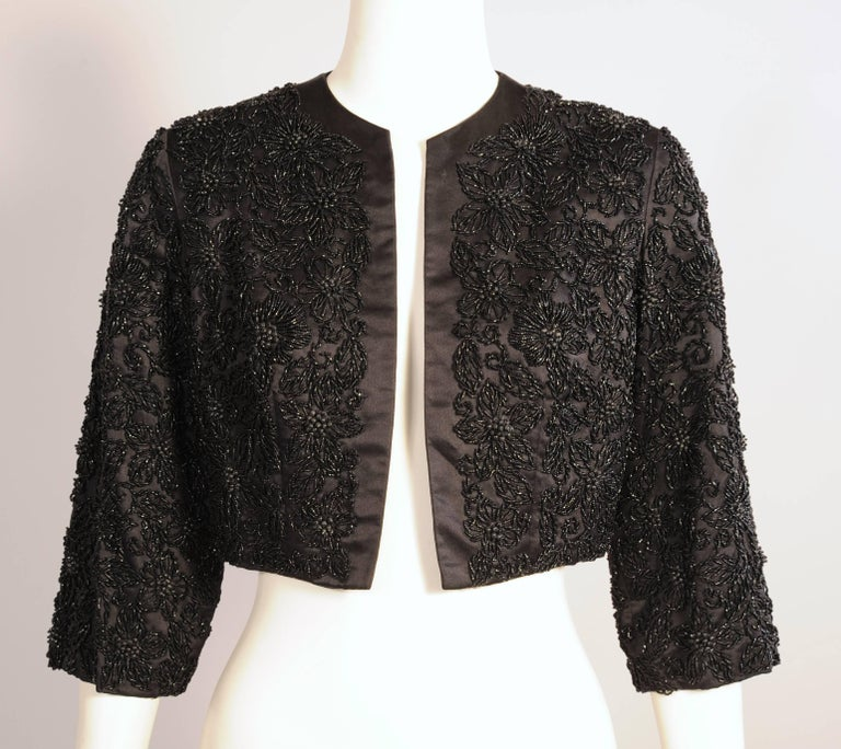 Women's Black Silk Jacket with Lavish Black Floral Beadwork For Sale