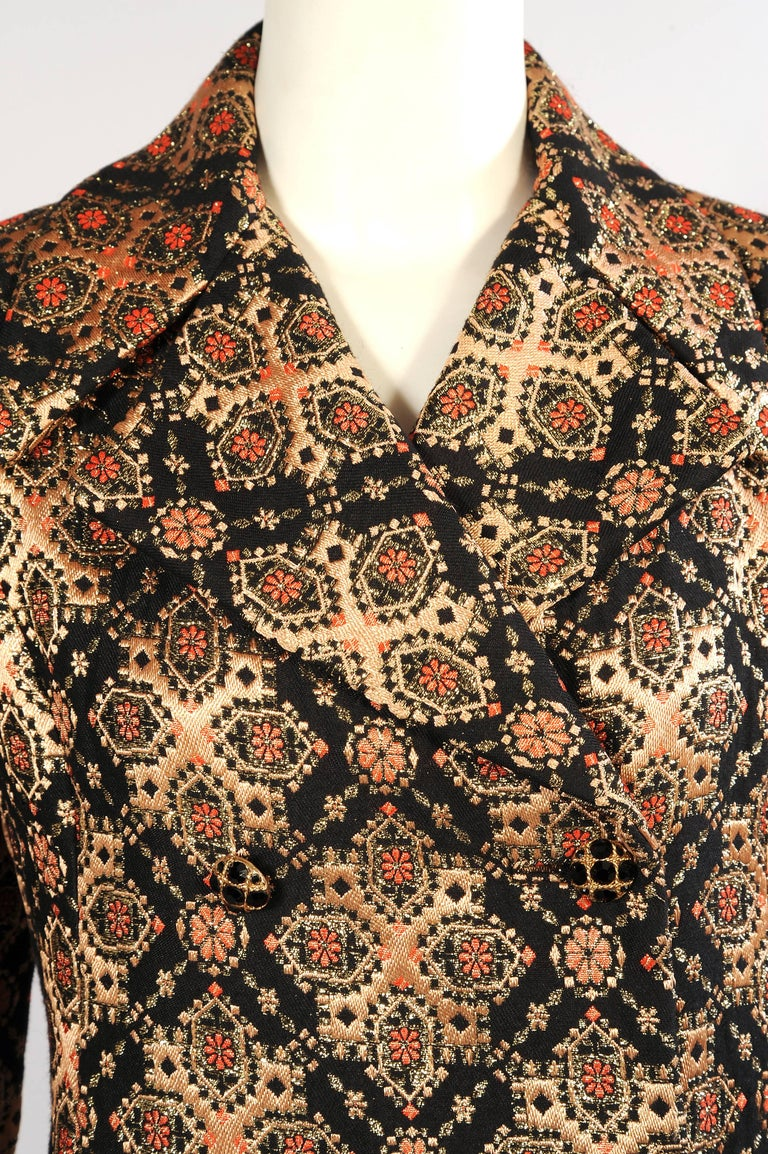 Women's Malcolm Starr Woven Black Peach Coral and Gold Lame Coat, 1960s  For Sale