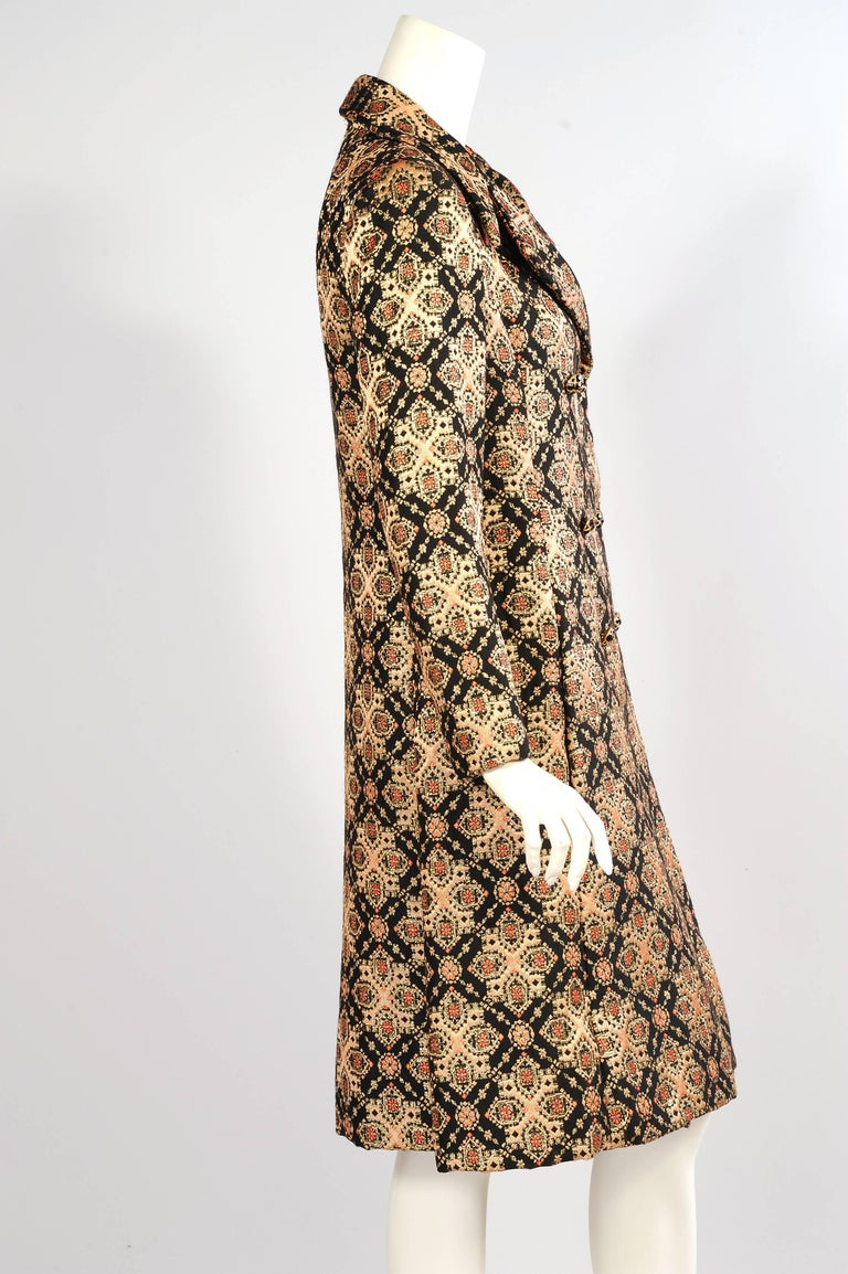 Brown Malcolm Starr Woven Black Peach Coral and Gold Lame Coat, 1960s  For Sale