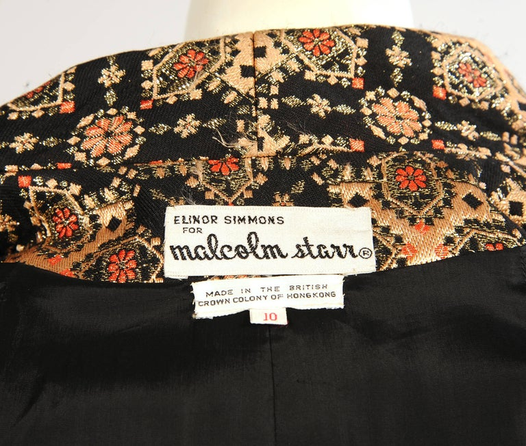 Malcolm Starr Woven Black Peach Coral and Gold Lame Coat, 1960s  For Sale 1