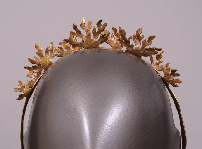 Artist Christina Romo, Mexican Designer Handmade Tumbaga Crown or Bridal Headpiece For Sale