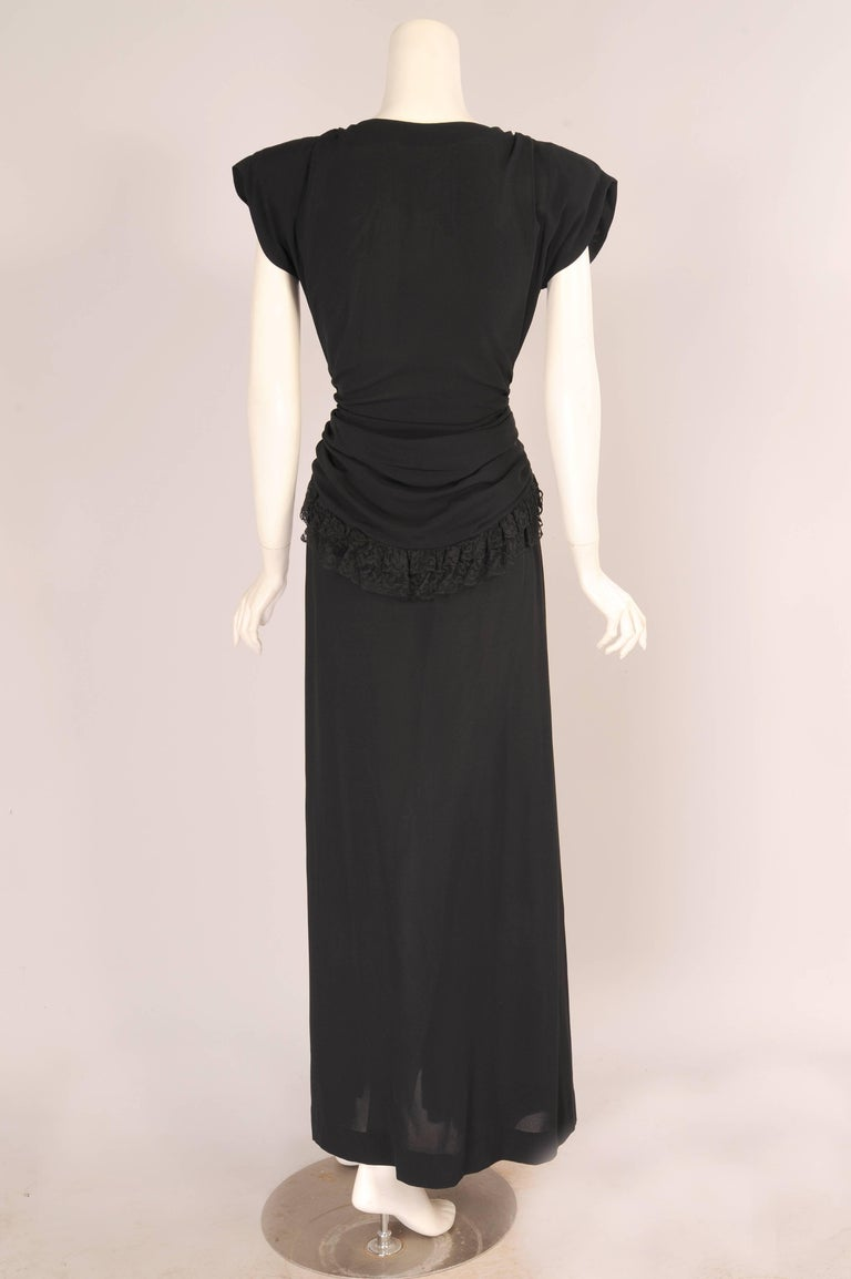 Eisenberg Originals Lace trimmed Black Crepe Evening Gown with ...