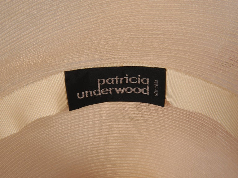 Patricia Underwood Spectacularly Large Wide Brimmed Flower Trimmed Picture Hat In New Never_worn Condition For Sale In New Hope, PA