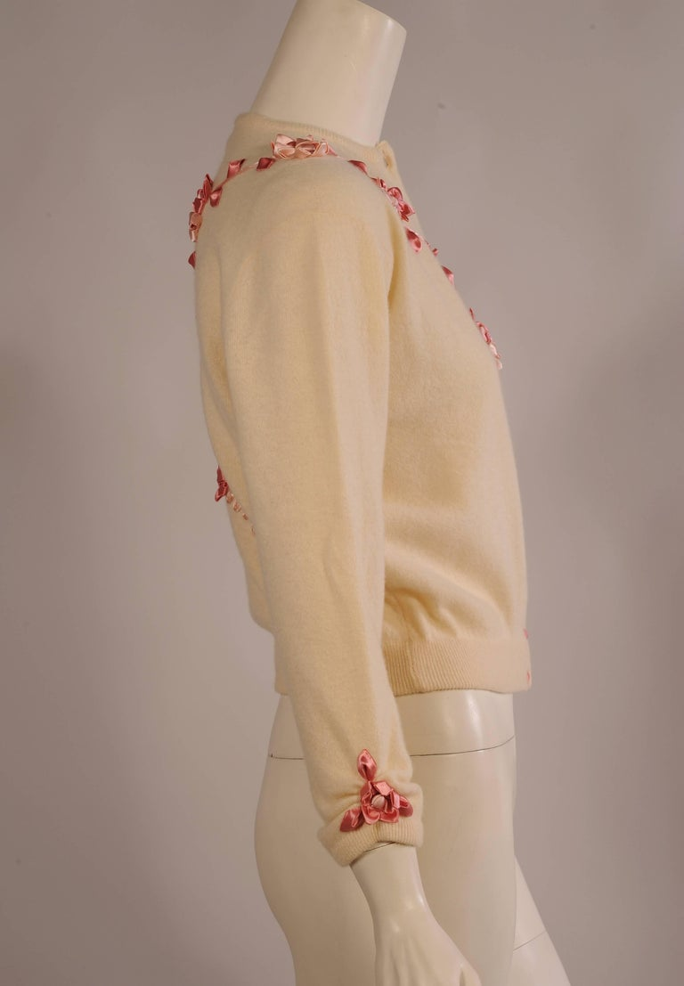Brown 1950's Estelle Parker Cashmere Sweater with Silk Ribbon Flowers For Sale