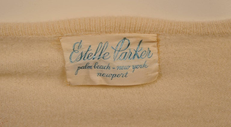 Women's or Men's 1950's Estelle Parker Cashmere Sweater with Silk Ribbon Flowers For Sale