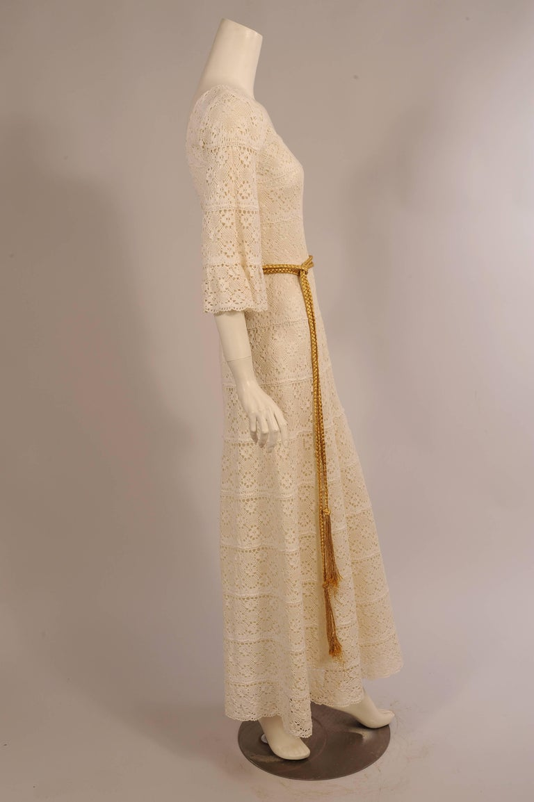 1970's Lace Maxi Dress with Braided Metallic Gold Belt In Excellent Condition For Sale In New Hope, PA