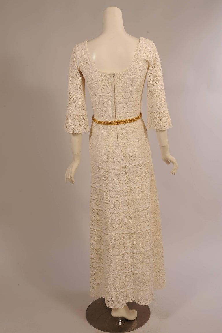 Women's 1970's Lace Maxi Dress with Braided Metallic Gold Belt For Sale