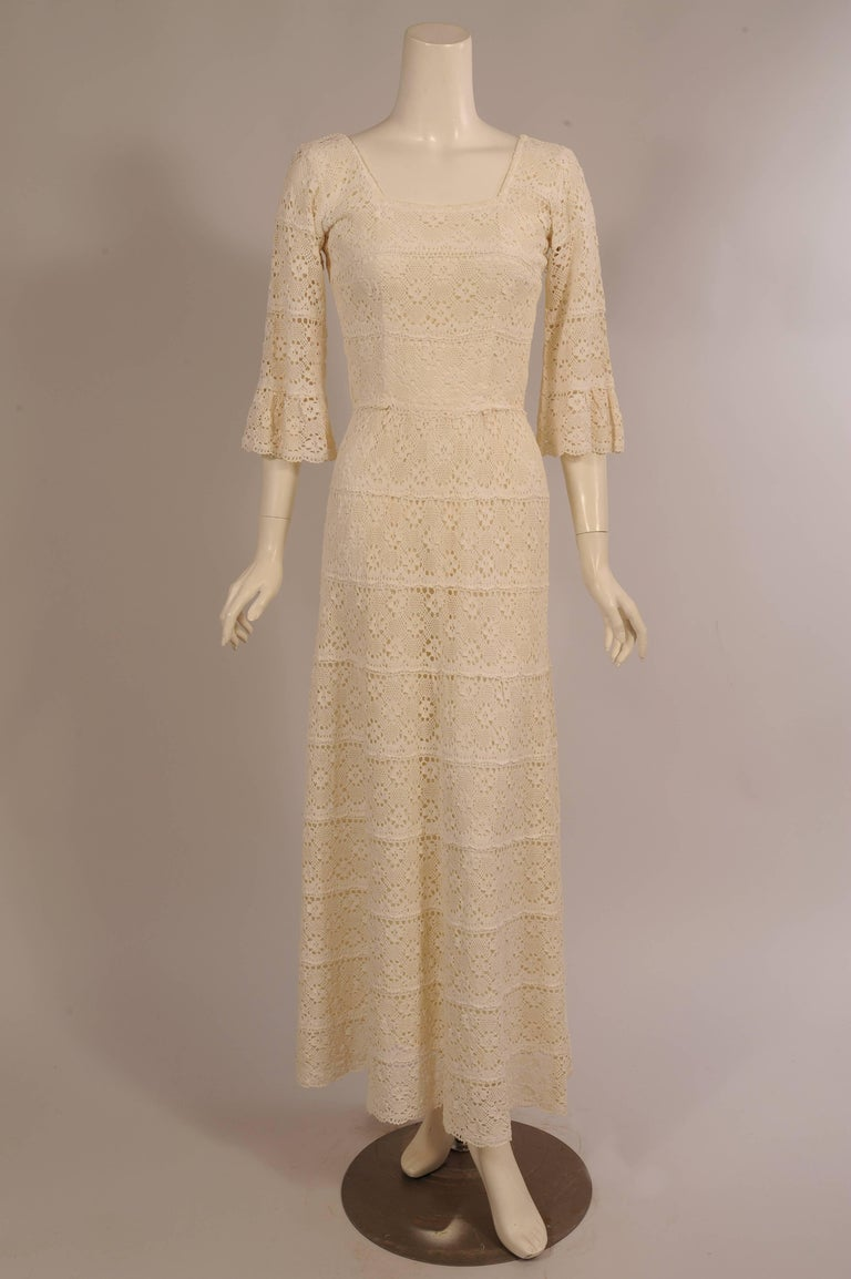1970's Lace Maxi Dress with Braided Metallic Gold Belt For Sale 1