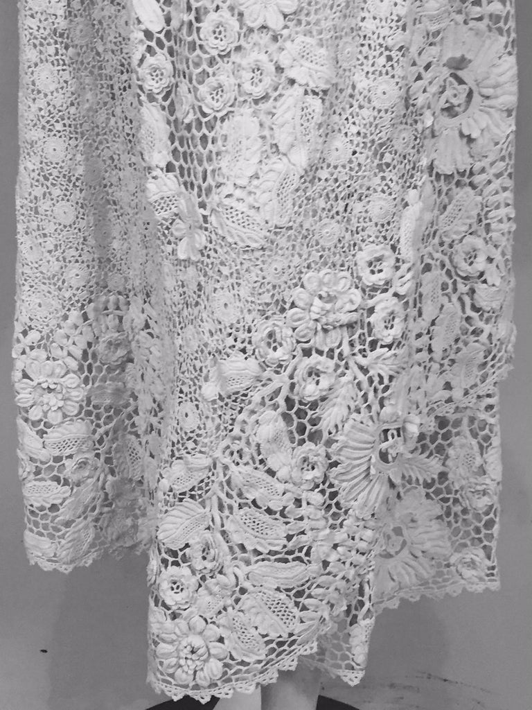Irish Lace Hand Made White Coat or Dress, Early 20th Century In Excellent Condition For Sale In New Hope, PA