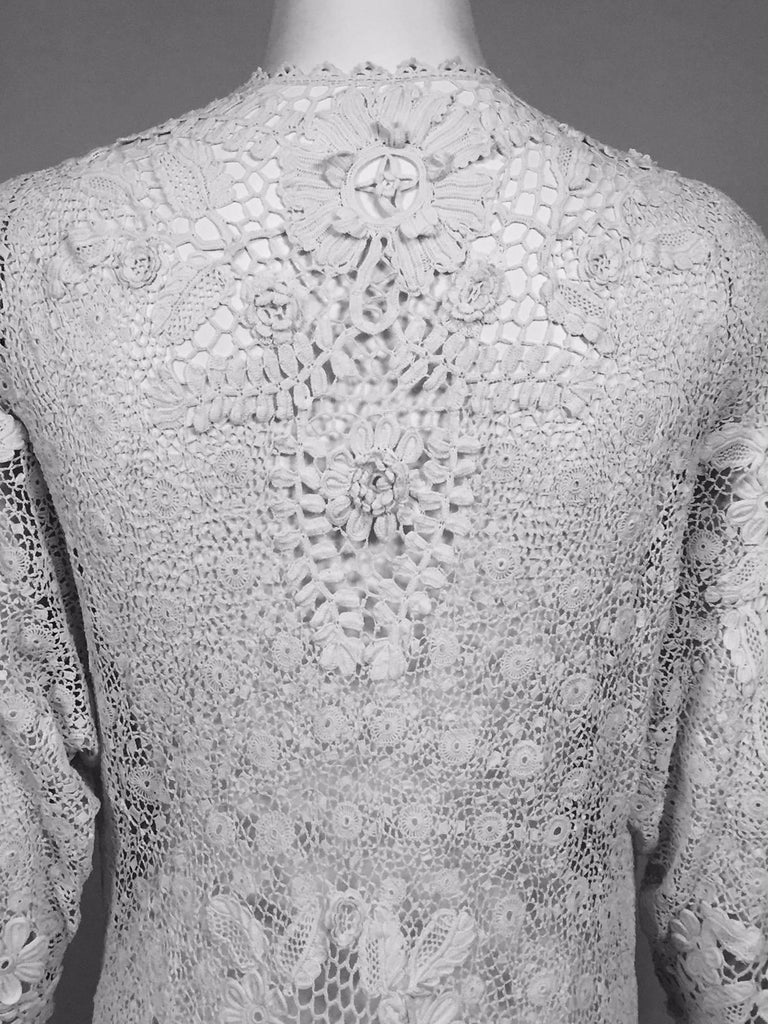 Irish Lace Hand Made White Coat or Dress, Early 20th Century For Sale 4
