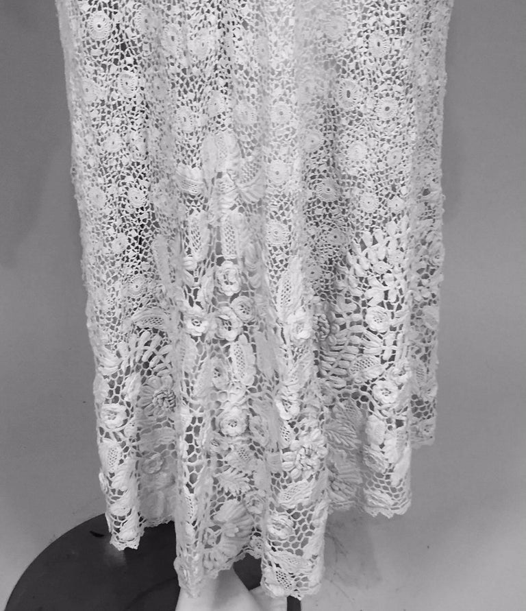 Irish Lace Hand Made White Coat or Dress, Early 20th Century For Sale 6