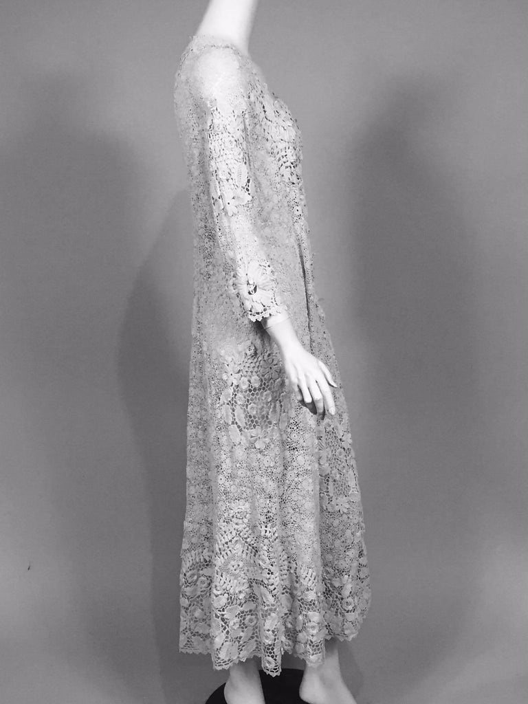 Irish Lace Hand Made White Coat or Dress, Early 20th Century For Sale 8