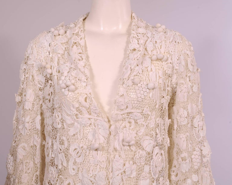 Women's Irish Completely Hand Made Lace Coat, Circa 1910 For Sale