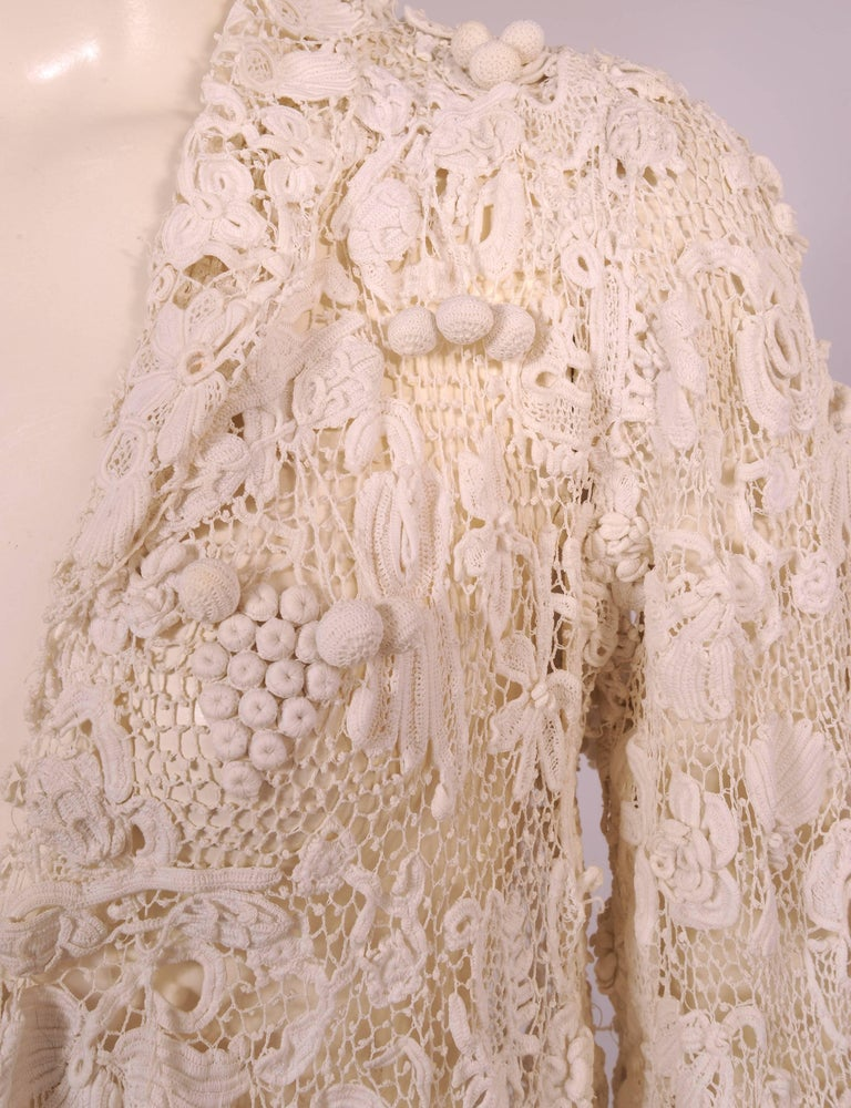 Irish Completely Hand Made Lace Coat, Circa 1910 For Sale 1
