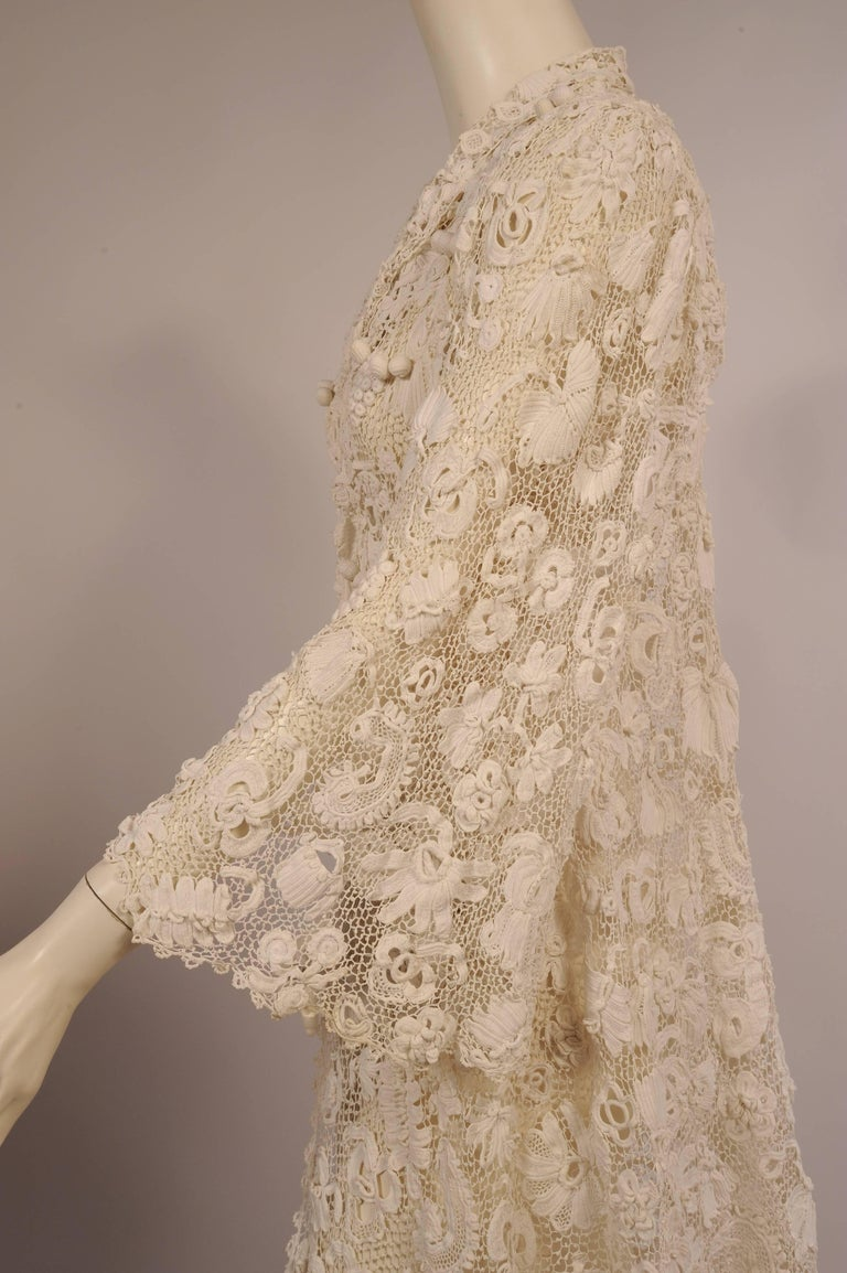 Irish Completely Hand Made Lace Coat, Circa 1910 For Sale 2