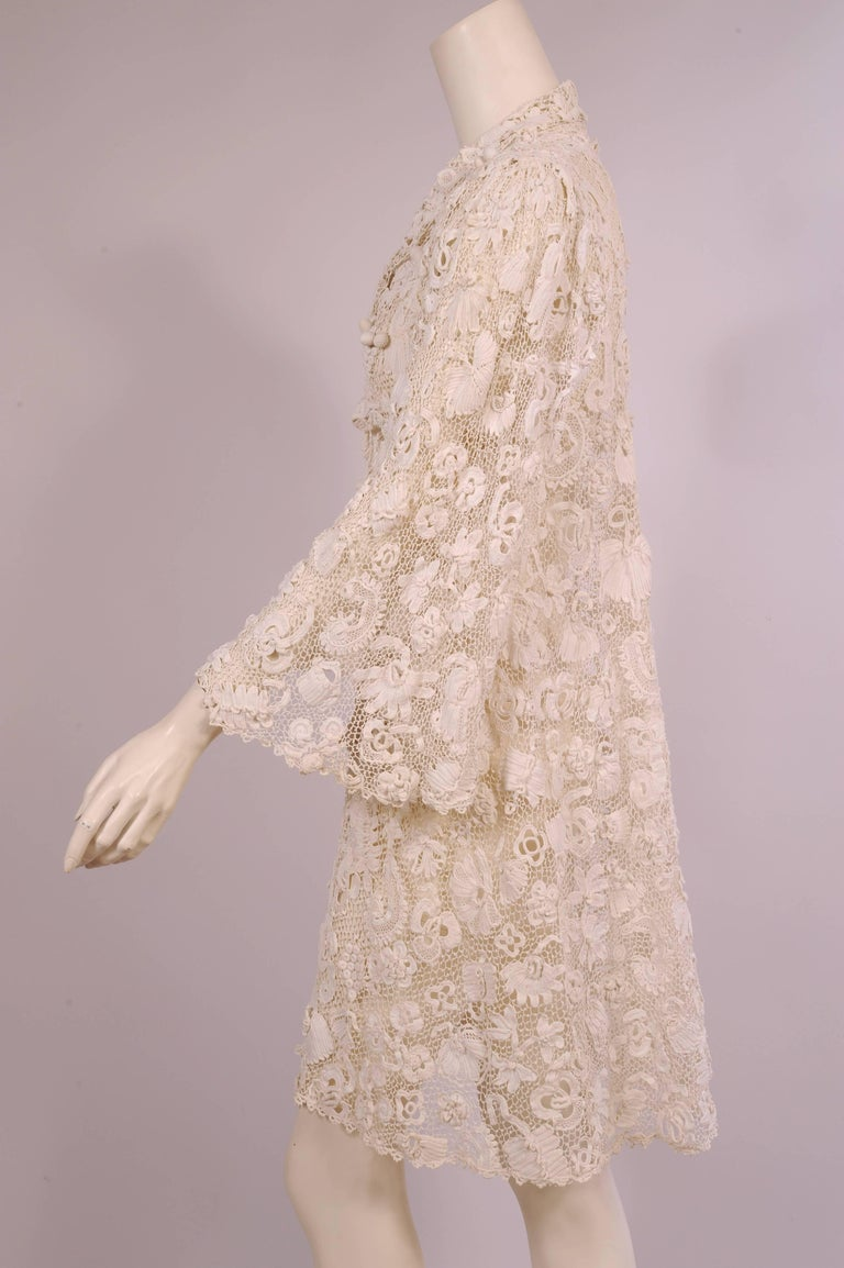 Beige Irish Completely Hand Made Lace Coat, Circa 1910 For Sale