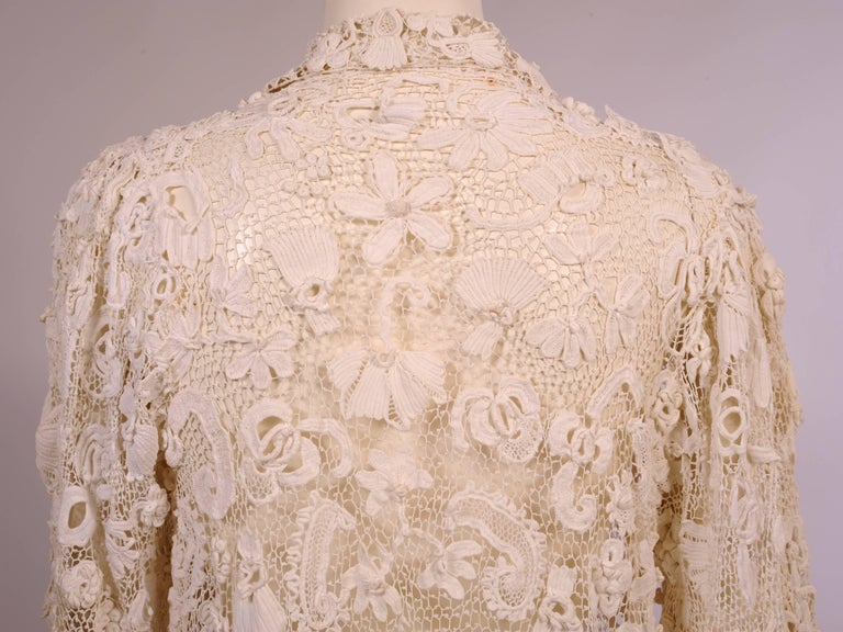 Irish Completely Hand Made Lace Coat, Circa 1910 For Sale 3