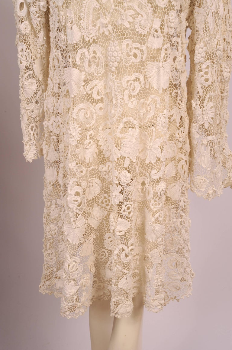 Irish Completely Hand Made Lace Coat, Circa 1910 For Sale 4
