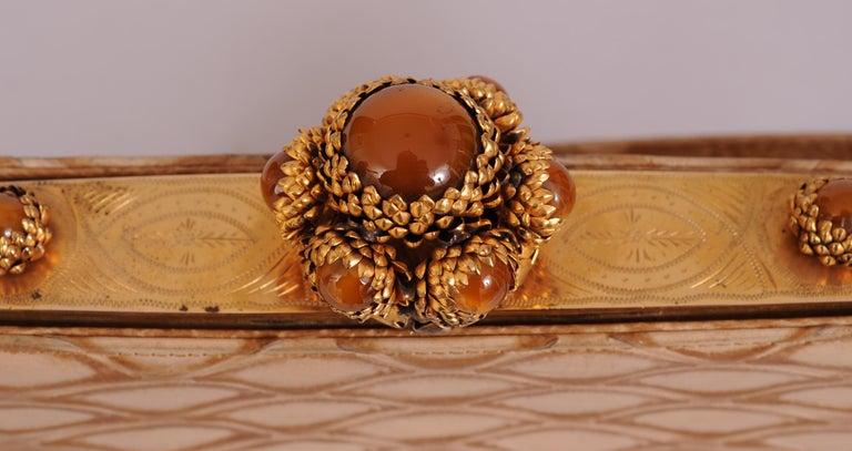 Koret Made in France Cabochon Jewel Topped Beige Skin Evening Bag  For Sale 1