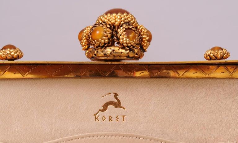 Koret Made in France Cabochon Jewel Topped Beige Skin Evening Bag  For Sale 3