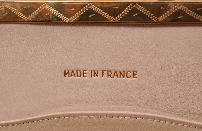 Koret Made in France Cabochon Jewel Topped Beige Skin Evening Bag  For Sale 4