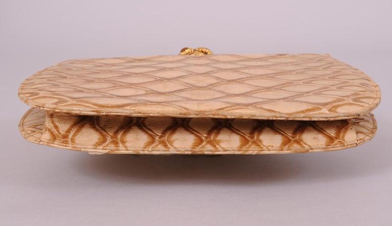 Koret Made in France Cabochon Jewel Topped Beige Skin Evening Bag  For Sale 6