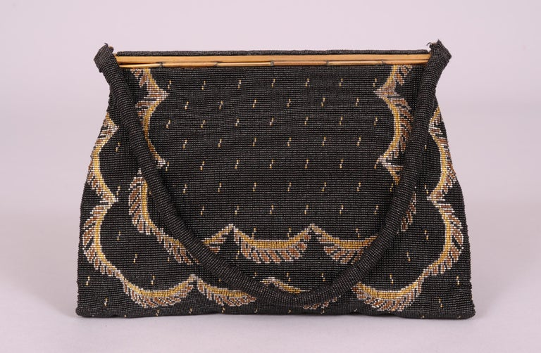 French Black Micro Beaded Evening Bag with Gold and Silver Swags In Excellent Condition For Sale In New Hope, PA