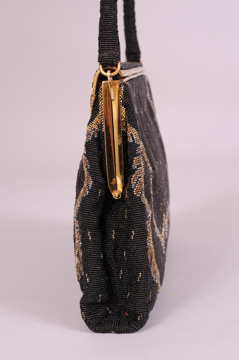 Women's French Black Micro Beaded Evening Bag with Gold and Silver Swags For Sale