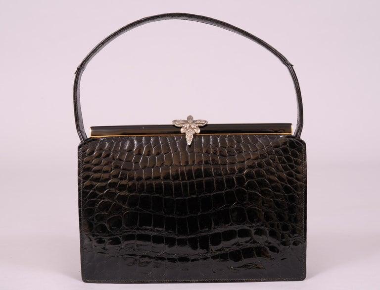 Women's Koret Black Crocodile Handbag Jeweled Enamel Frame Made in France Never Used For Sale
