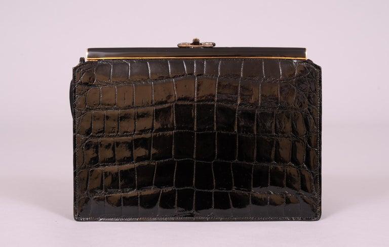 Koret Black Crocodile Handbag Jeweled Enamel Frame Made in France Never Used For Sale 2