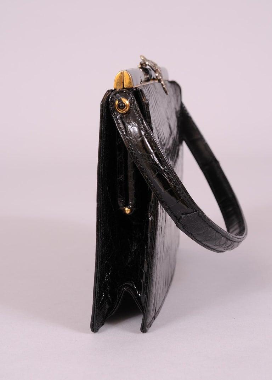 Koret Black Crocodile Handbag Jeweled Enamel Frame Made in France Never Used For Sale 1