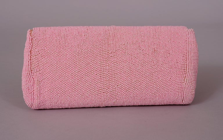 Hand Made Pink Beaded Clutch with a Bubblegum Pink Beaded Flower Applique In Excellent Condition For Sale In New Hope, PA