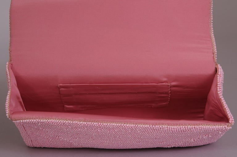 Women's Hand Made Pink Beaded Clutch with a Bubblegum Pink Beaded Flower Applique For Sale