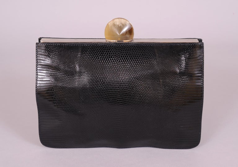 Women's Desmo Black Lizard Clutch with Faceted Stone Clasp For Sale