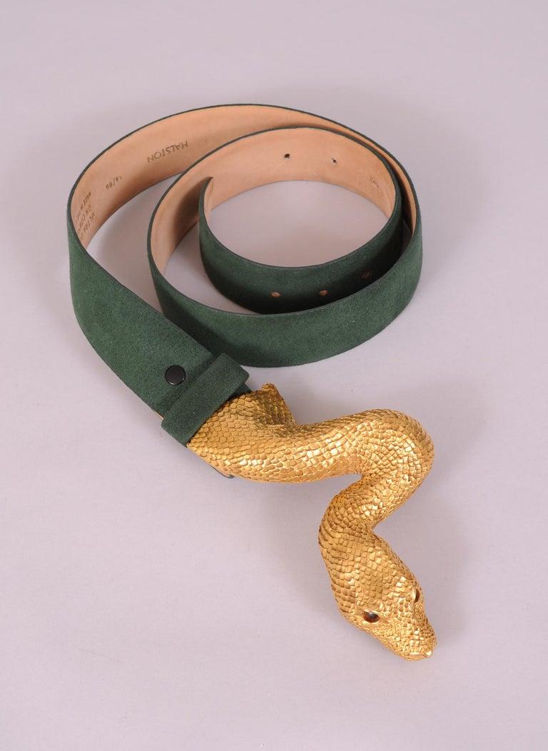 Brown Christopher Ross Large Snake Head Buckle on Green Halston Ultrasuede Belt For Sale