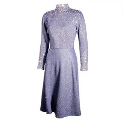 Pauline Trigere Navy Blue Dress Studded with Rhinestones