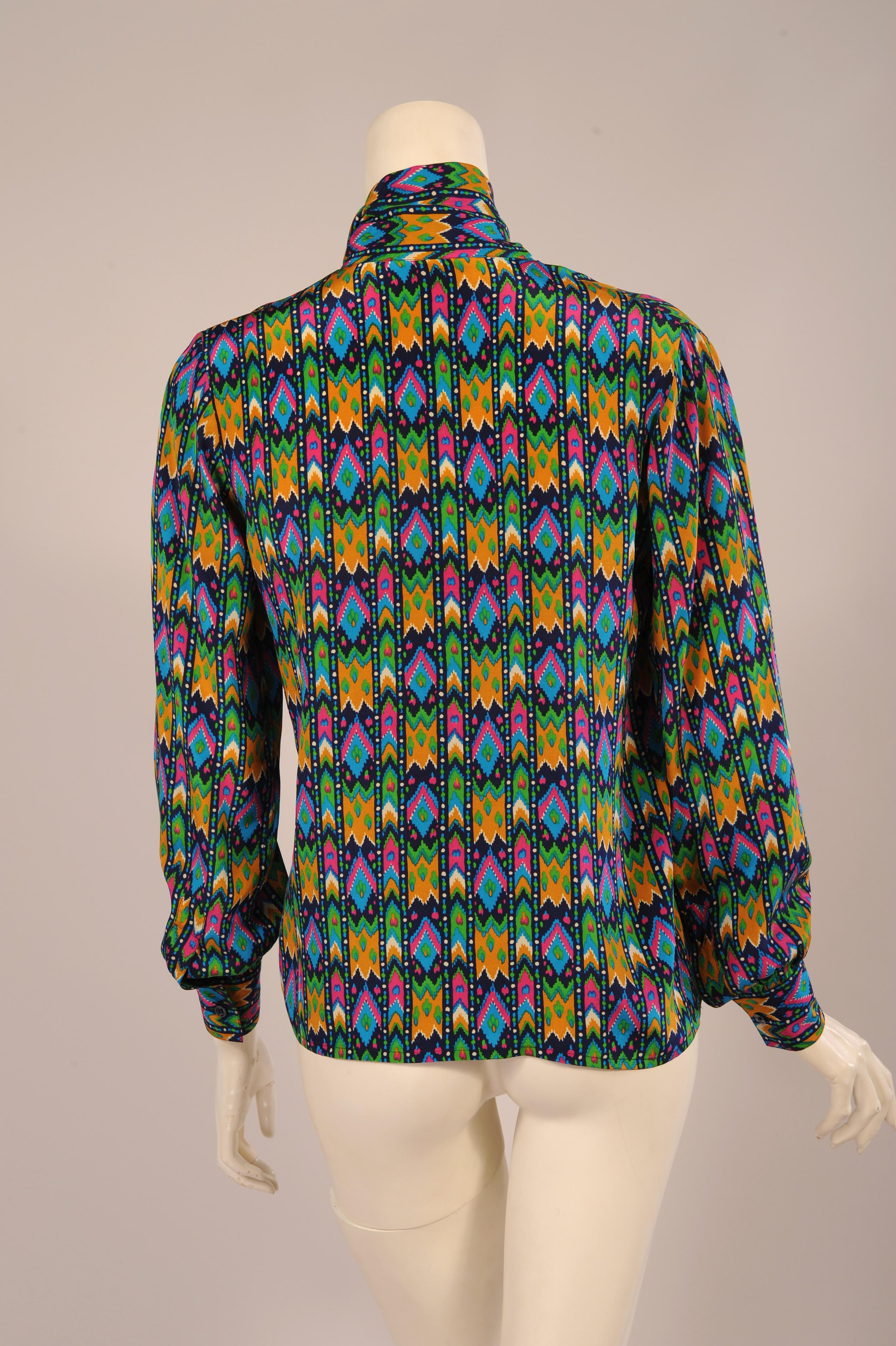 23f45852541 Yves Saint Laurent Colorful Silk Print Tunic Blouse with Tie Collar at  1stdibs