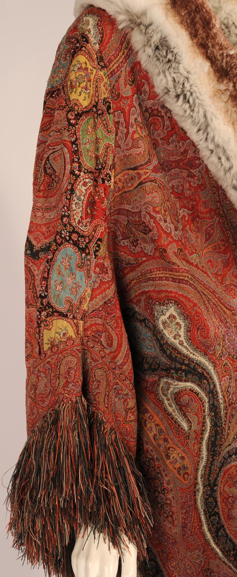 Brown 1920's Coat Made from a Handmade Antique Kashmiri Paisley Shawl For Sale
