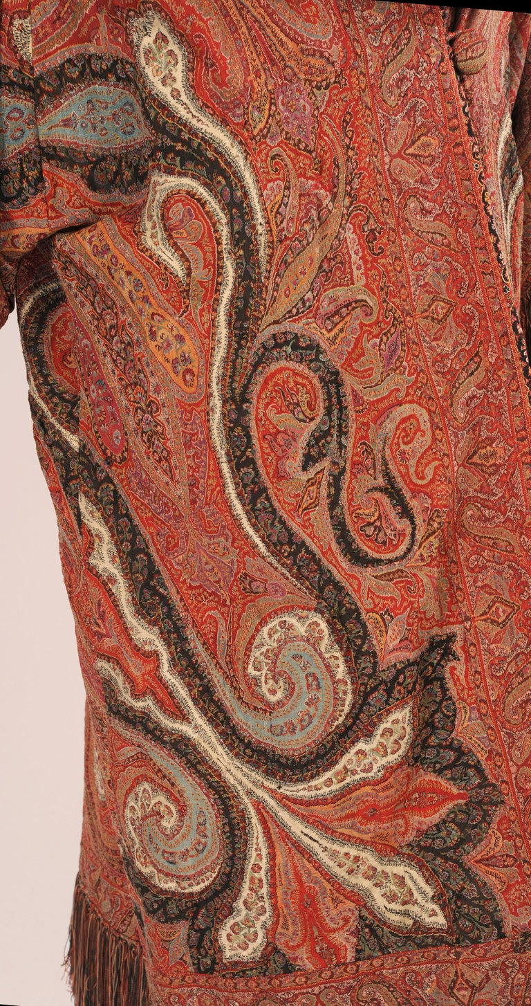 1920's Coat Made from a Handmade Antique Kashmiri Paisley Shawl In Excellent Condition For Sale In New Hope, PA